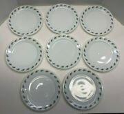 Vintage Pyrex Green Leaf Table Restaurant Ware 8 - 8 Lunch Plates 719 All New