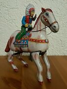 Vintage 50s Haji Apache Rider Wind Up Tin Indian Chief Horse Toy Made In Japan
