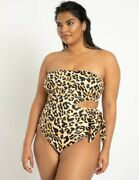 Eloquii Leopard Side Tie Swimsuit, Size 22, Plus Size, New With Tags