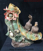 21and039and039 China Culture Wucai Porcelain Auspicious Lotus Flower Animal Duck Ornaments