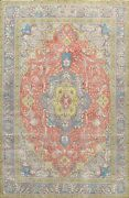 Vintage Floral Traditional Tebriz Area Rug Hand-knotted Oriental Carpet 8and039x11and039