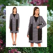 2775 Nwt Viktor And Rolf Italy Luxury Tweed Runway Linen Silk Trench Coat M L