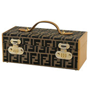 Pre-owned Fendi Zucca Mini Trunk Brown Canvas Leather Free Shipping