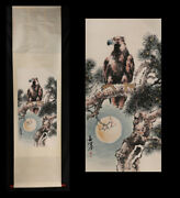 Antique Chinese Finely Painted Scroll Painting Of Eagle By Yang Shanshen