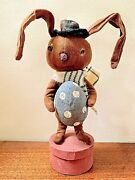Primitive/country Handcrafted 10 Bunny W/ Scarf /egg On Shaker Box Folk Art