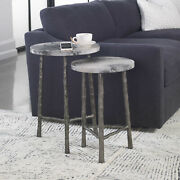 17 W Set Of 2 Accent Table Vellum Wrapped Tops Cast Iron Branch Legs Modern