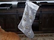Brand New Frontgate Christmas Stocking Grey Velvet And Crystal Stocking Ret 109