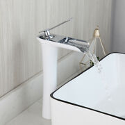 Bathroom White Basin Faucet Mixer Waterfall Spout Single Handle Deck Mounted Tap