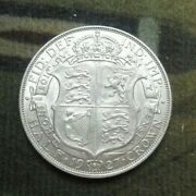 1927 George V Bare Head Coinage Half 1/2 Crown Spink 4032 Crowned Shield Cc1
