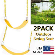 2pcs Heavy Duty Swing Seat Set Replacement Swings With Chain Outdoor Yellow Us