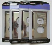Lot Of 4 Amerelle Duplex Outlet Cover Wall Plate Century Chrome New