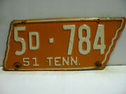 1951 Tennessee License Plate 5d - 784    Vintage  As41231