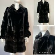 Nwt High-quality Real Mink Fur Coat Black Winter Removable Sleeve Cuff Rp2650