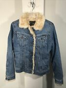 Lucky Brand Vintage Faux Fur Lined Jean Jacket Size M Dungarees Of America