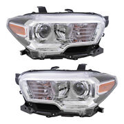 Pair Of Headlight Assemblies With Fog Lights Fit 2019-2020 Tacoma