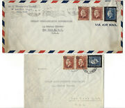 Greece, Athens - 10 Vintage Air Mail Stamped Envelopes Dated 1946 Mailed To Nyc.