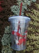 Starbucks 2012 Red Fox Holiday 12 Oz. Cold Cup Tumbler W/ Red Straw Euc