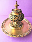 Antique Victorian Gilded Niello Brass Inkwell Ornate In Russian-byzantin Style