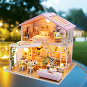 Miniature Doll House Furniture Full Set Modern Cottage Building Gift Toy
