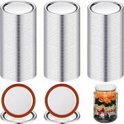 100 Pieces Split-type Lids With Silicone Seals Rings Canning Jar Stainless Steel