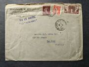 French Ship Ss Ile De France Naval Cover Paris To Ny
