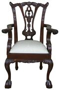 Vintage Chippendale Style Mahogany Childs Doll Accent Chair Ball And Claw
