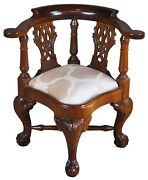 Vintage Chippendale Style Mahogany Childs Doll Corner Accent Chair Ball And Claw