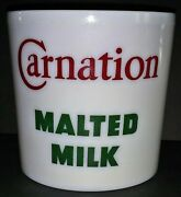 Vintage Carnation Malted Milk Glass Advertising Container Base For Soda Fountain