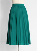 Modcloth Plus Size Skirt Prim And Pleated Teal Green In 16 W