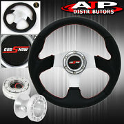 For 90-96 300zx 320mm Black Silver Steering Wheel Red Godsnow Thin Quick Release