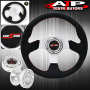 89-05 Eclipse 320mm Black Silver Steering Wheel Red Godsnow Thin Quick Release