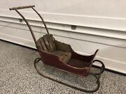 Antique Early 1900and039s Childand039s Sleigh Victorian Push Sled