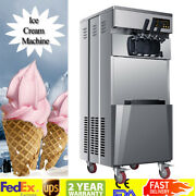 20l/h Stand Commercial 3 Flavors Ice Cream Machine Stainless Steel 110v Fda