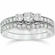 0.75ct Real Diamond Three Stone Vintage Ring 14k White Gold For Christmas Gift