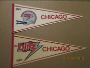 Usfl The Chicago Blitz Vintage Defunct Lot Of 2 Different Logo Football Pennants