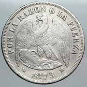 1873 Chile Condor Bird Antique Old Large Silver South American Peso Coin I90504