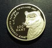 Thailand - 1997 Silver 100 Baht - Wwf Tiger - Proof In Capsule