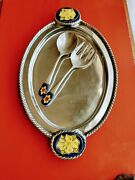 Mexican Pewter Serving Platter And Salad Setwith Talavera Ceramic Inserts