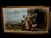 Rare Antique Ca. 1880and039s Rare Pastel Painting By Famous English Artist Harris