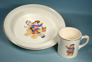 1941 Raggedy Ann And Andy Glazed China Plate And Mug Crooksville Johnny Gruelle Co.