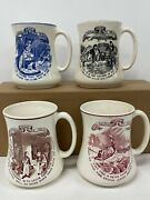 Antique Pottery Mugs Set 4 Maling Newcastle On Tyne Poor Richards Way To Wealth