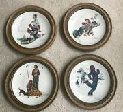 Norman Rockwelland039s Four Seasons Plates Framed 1974 Fishing Puppy Boy Father
