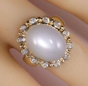 Estate 14k Diamond And Moonstone Large Cocktail Ring Perfect Condition