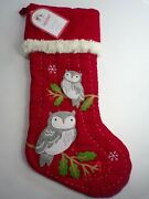 Pottery Barn Kids Snow Owl Quilted Woodland Christmas Stocking Red 4806