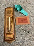 Lot Of Vintage Local Advertising Items- Thermometer- Egg Separator