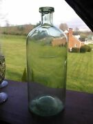 Awesome Large Crude C. 1870 Green Apothecary Bottle - Excellent