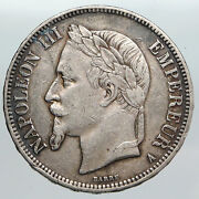 1868 Belgium With King Leopold Ii And Lion Antique Silver 5 Francs Coin I90566