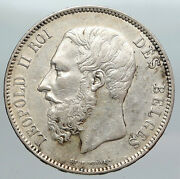 1873 Belgium With King Leopold Ii And Lion Genuine Silver 5 Francs Coin I90571