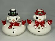 Vintage Dickson Japan Snowman And Snow Girl Holiday Planter/ Candy Dish