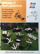 Brinly Cat 0 3-point Hitch Implements 14 18 Garden Tractor Sales Brochure Manual